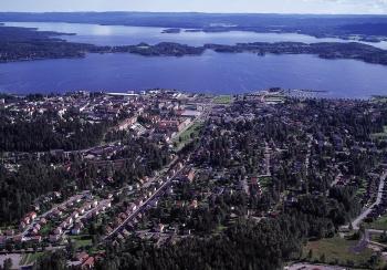 Flygfoto över Arvika. Foto: Arvika kommun.
