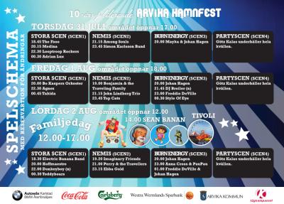 Arvika Hamnfest spelschema