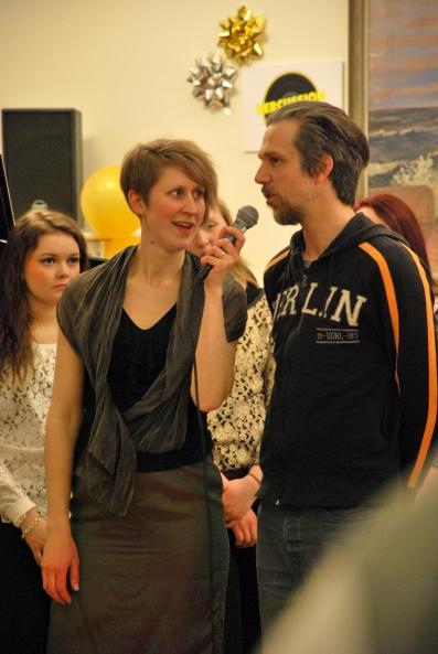 Anna Andersson Vass intervjuar Tobias Östlund från Broken Door. Foto: David Fryxelius.
