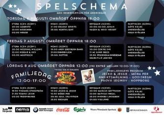 Spelschema för Arvika Hamnfest 2015.