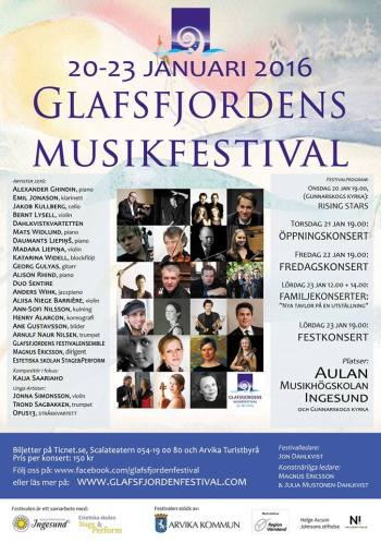 Officiell affisch Glafsfjordens Musikfestival 2016. Foto: Glafsfjordens Musikfestival.