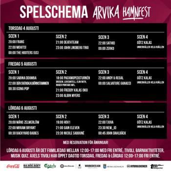 Spelschema för Arvika Hamnfest 2016. Foto: Arvika Hamnfest.