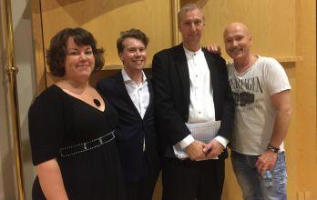 Rebecca Prooba, konferencier Oskar Persson, Robert Henriksson och Johan Boding. Foto: Birgitta Rentzhog.