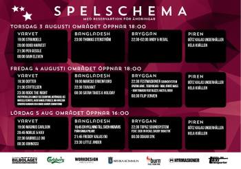 Spelschema för Arvika Hamnfest 2017. Foto: Arvika Hamnfest.