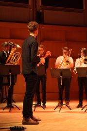 Blåselever på Musikskolans konsert på Musikhögskolan Ingesund vt18. Foto: David Fryxelius.