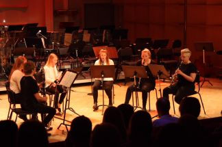 Klarinettelever på Musikskolans konsert på Musikhögskolan Ingesund vt18. Foto: David Fryxelius.