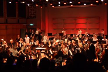 Musikskolans symfoniorkester på Musikskolans konsert på Musikhögskolan Ingesund vt18. Foto: David Fryxelius.