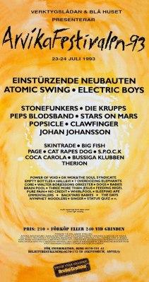 Affisch Arvikafestivalen 1993.