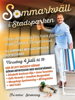 Affisch Sommarkväll i stadsparken 4 juli 2019