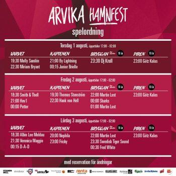 Uppdaterad spelordning (fr. 17 juli) för Arvika Hamnfest 2019.