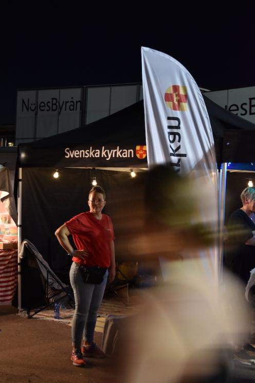 Marie Mattson arbetade för Svenska kyrkan på Arvika Hamnfest 2019. Foto: David Fryxelius.