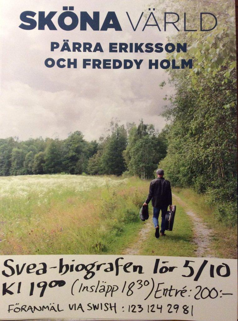 Affisch Releasespelning av Sköna värld