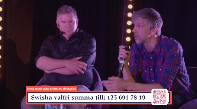 """Gästerna i soffan, Andreas Olsson och Tobias Östlund, på insamlingsgalan """"Music against Covid-19""""."""